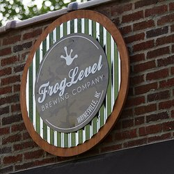 Photo of Frog Level Brewing Company Sign in Waynesville, NC
