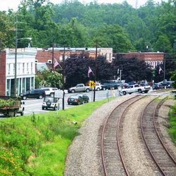 Photo of Railroad Tracks Running though Down Town Saluda