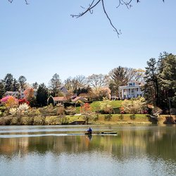 Photo of Person Canoeing in the lake in front of white house on a bank