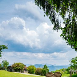 Photo of a Grassy Field and Bench looking toward the Mountains